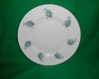 "Three (3), 8 1/4"" Salad Plates, from Majestic Choice, of England, with a Petite Blue Flowers."
