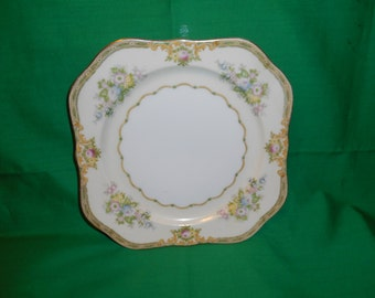 "One (1), 8"", Hand Painted, Square Salad  Plate, from Meito China, in the Calais Pattern."