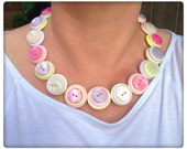 Pastel, pearl,button necklace
