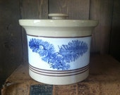 Vintage Yellowware Yellow Ware Butter Crock w/ Lid - East Knoll Pottery