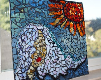 Window Hanging, Home Decor, Mosaic Panel, Women with Sun Mosaic, Mosaic Women Portrait, Sun Catcher, Stained Glass