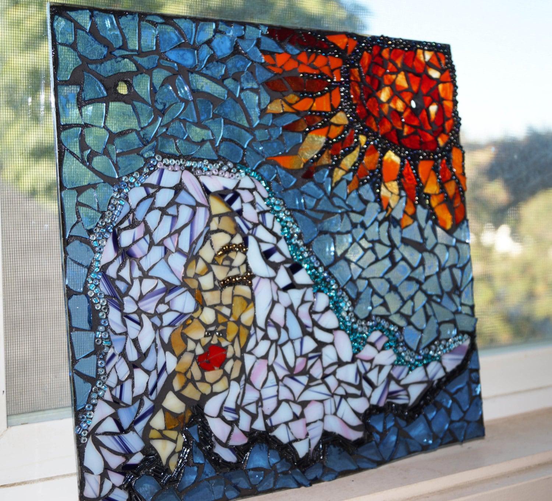 Window Hanging Home Decor Mosaic Panel Women With Sun