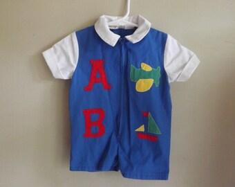 Vintage Kids Clothes, Vintage Baby Boy Clothes,  Shortalls, Jon Jon, Vintage Romper, Airplanes, Sailboats, Retro Kids Clothes, ABC, Blue