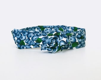 blueberries, fruit, food, blue, berries, fall, wire twist headband, dolly bow head wrap - one size fits all