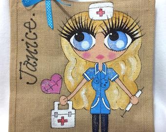 Handpainted Personalised Nurse Jute Handbag Gift Bag Hen Party Celebrity Style