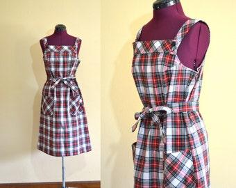 1970s Vintage Sears Jr Bazaar Plaid Belted Jumper Dress size 11 (M L) bust 36