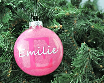 Neon Pink Glitter Personalized Glass Ornament