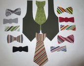 Baby Shower Iron On Applique Set, Bow Tie, Neck Tie, Vest READY TO SHIP!