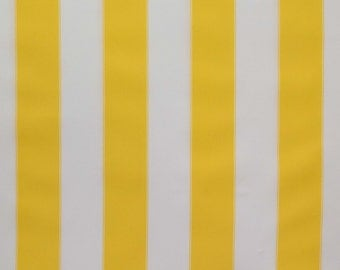 Stripe Indoor Outdoor Waterproof Canvas 60 inch Yellow  White Fabric By the Yard, 1 Yard