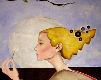 Make a wish, wish, blonde woman making a wish, gothic postcard, pinwheel