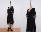 1970s dress | Vintage 70s black Morning Lady scarf sleeve lounging dress