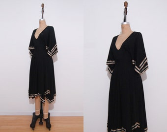 1970s dress | Vintage 70s black Morning Lady scarf sleeve lounging dress