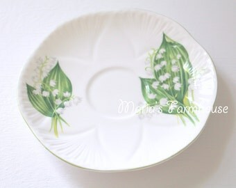 Vintage Shelley Fine Bone China Saucer Replacement China Lily of the Valley Pattern - c. 1940 - 1966