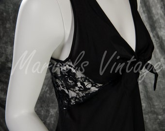 Vintage Glydons Nightgown Lingerie Long Black Gown Stunning Lace Back Size Small