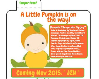 Little Pumpkin is on the way Fall Baby Shower Lip Balm Labels Lip Joy Favors Personalize Party Wedding Baby Shower Gift Bags Pura Gioia