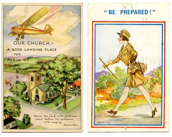 2 Vintage British Postcards 1940 WWII Airplane & Church /1948 Stocker Shaw Be Prepared Woman in Military Both Stamped and Mailed
