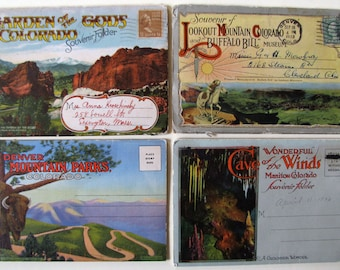 4 COLORADO Vintage Viewbooks 1920s, 1930s, 1940s Lookout Mountain Buffalo Bill, Cave of the Winds, Garden of the Gods, Denver Mountain Parks