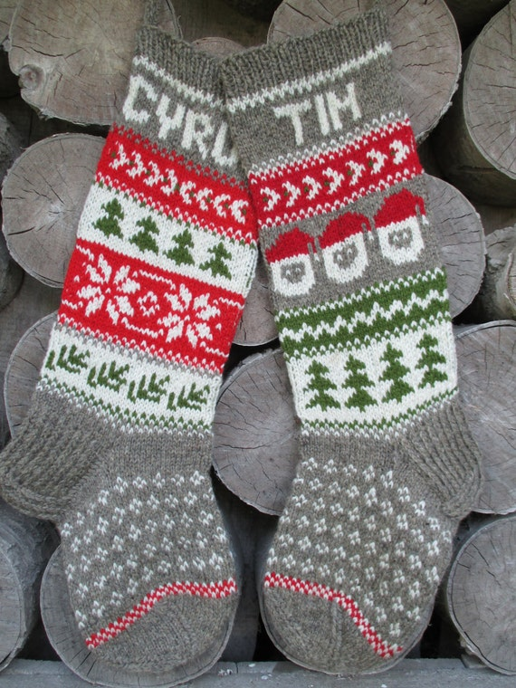 For 2016 Hand Knit Christmas Stocking Red By