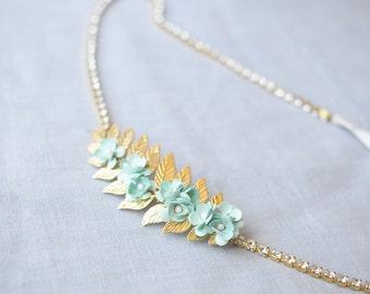 Flower Bridal Sash, Gold Wedding Sash with Mint Flowers and Crystals, Leaf Sash, Laurel Leaf, Thin Wedding Sash with Blue Flowers, Floral