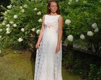 Vintage 70s white lace empire waist gown with pink bow Wedding Dress