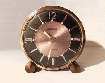 Vintage Wind Up Relide Black Etched Brass 7 Jewel Alarm Clock