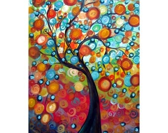 FALL TREE at Sunset Painting Canvas Embellished Whimsical Landscape Colorful Circles Giclee of Original Painting by Luiza Vizoli