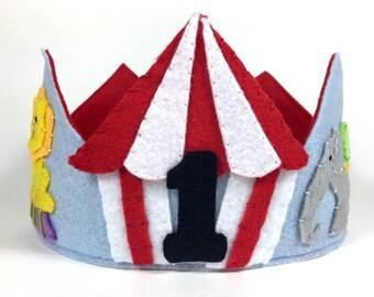 Circus Animals Felt Crown, Felt Birthday Crown