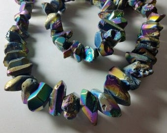 Mermaid Metallic Violet Purple Green Royal Blue Gold Tumbled Titanium Coated Quartz Nugget Beads 15mm - 30mm