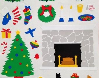 Christmas stickers, fireplace hearth, Christmas wreath,stockings,Christmas tree,toys