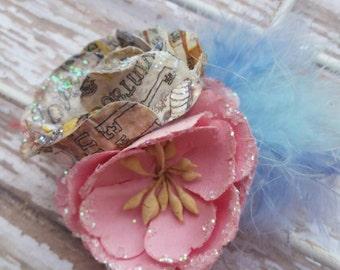 Vintage Hair Clip, Timeless Hair Clip, OOAK, Dusty Pink Flower, Vintage