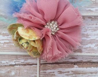 Vintage Hairclip, Timeless Hair Clip, OOAK, Dusty Pink Flower, Vintage