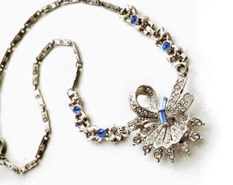 "1930s Vintage Art Deco, Something Old, Something Blue, Rhinestone and Silver Tone Bridal Choker Necklace, 16"""