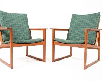 Pair of Danish Modern Mid Century Børge Mogensen Teak Lounge Chairs