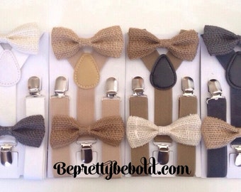 Suspender Bow tie set Burlap Baby bowtie Suspenders Jute Boys Bowties Tan Toddler Necktie Gray Mens bowtie Wedding Ring Bearer Outfit Rustic