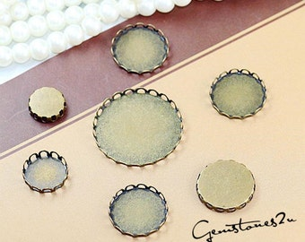 20pcs Antique Bronze 10mm / 12mm / 14mm / 15mm / 16mm / 18mm / 20mm / 25mm / 10pcs 30mm / 35mm Brass Cameo Base Setting Pendant