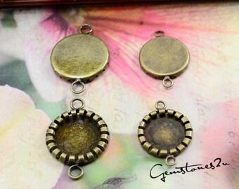10pcs Antique Bronze 10mm / 12mm Brass Cameo Base Setting Pendant