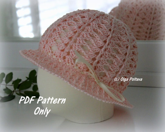 Light Pink Cloche Girls Hat Crochet Pattern, Size 3 to 5 Years Old, Instant Download