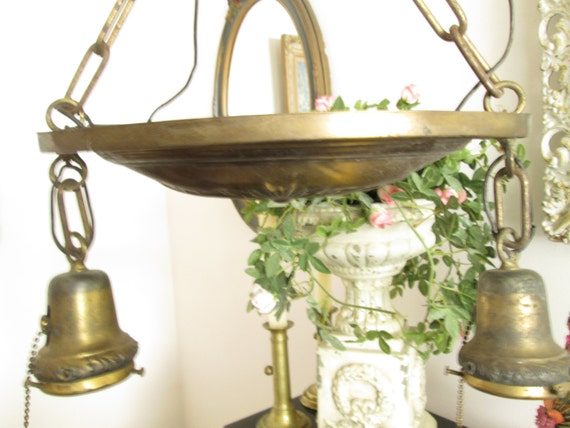 vintage shabby chic antique light fixture by herminascottage