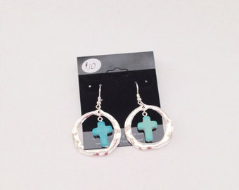 Silver and turquoise Cross earrings.