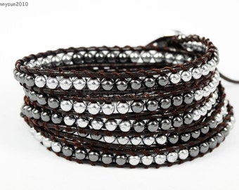 Handmade 5 Wrap 4mm Hematite Black and Silver Round Beads String Dark Brown Leather Wrap Bracelet Silver Plated Button Closure
