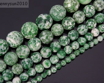 Natural Green Spot Gemstone Faceted Round Beads 15.5''  Strand for Jewelry Making Crafts 4mm 6mm 8mm 10mm 12mm