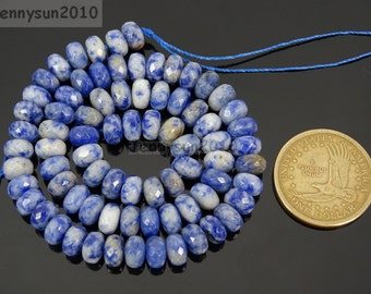Natural Blue Spot Gemstones 5mm x 8mm Faceted Rondelle Spacer Loose Beads 15'' Strand Jewelry Design