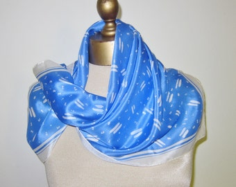 Vintage silk scarf, cornflower blue, geometric scarf, square neckerchief,  70s blue scarf,  original label, 70s