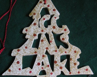 Higgins Lake, handcrafted tree shaped ornament