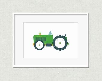 Nursery art, nursery decor,  modern nursery art, kids room art, nursery print, tractor print, green tractor, tractor, tractor art, green art