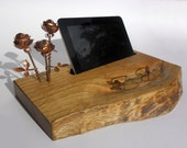 wooden stand for tablet, with three small copper roses