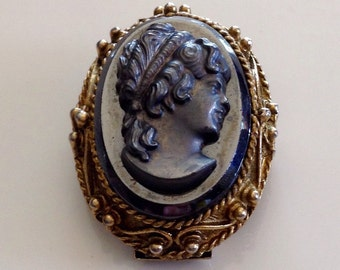 Vintage Hematite cameo brooch pin