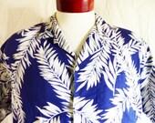 aloha vintage 90's Kula Bay navy blue white pink grey tropical palm tree leaf print hawaiian shirt short sleeve button up camp large