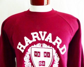 go Crimson vintage 80's 90's Harvard University ivy league burgundy wine red fleece cream veritas logo crest graphic sweatshirt pullover XL