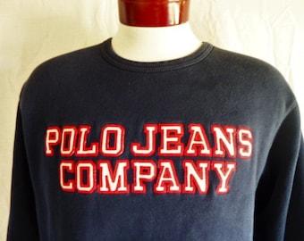 vintage 90's Polo Jeans Co. Ralph Lauren RL indigo navy blue fleece graphic sweatshirt red ivory white applique embroidered spellout logo SM